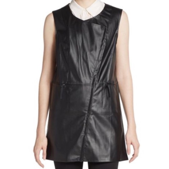 8dc4e725121 Max Studio Black Faux Leather and Suede lined Vest